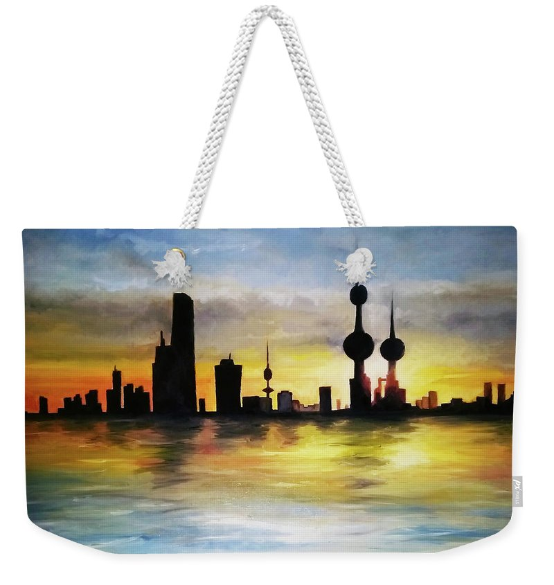 Kuwait City Skyline Weekender Tote Bag featuring the painting Kuwait City Sunset From The Bay by Giuseppe Costantino