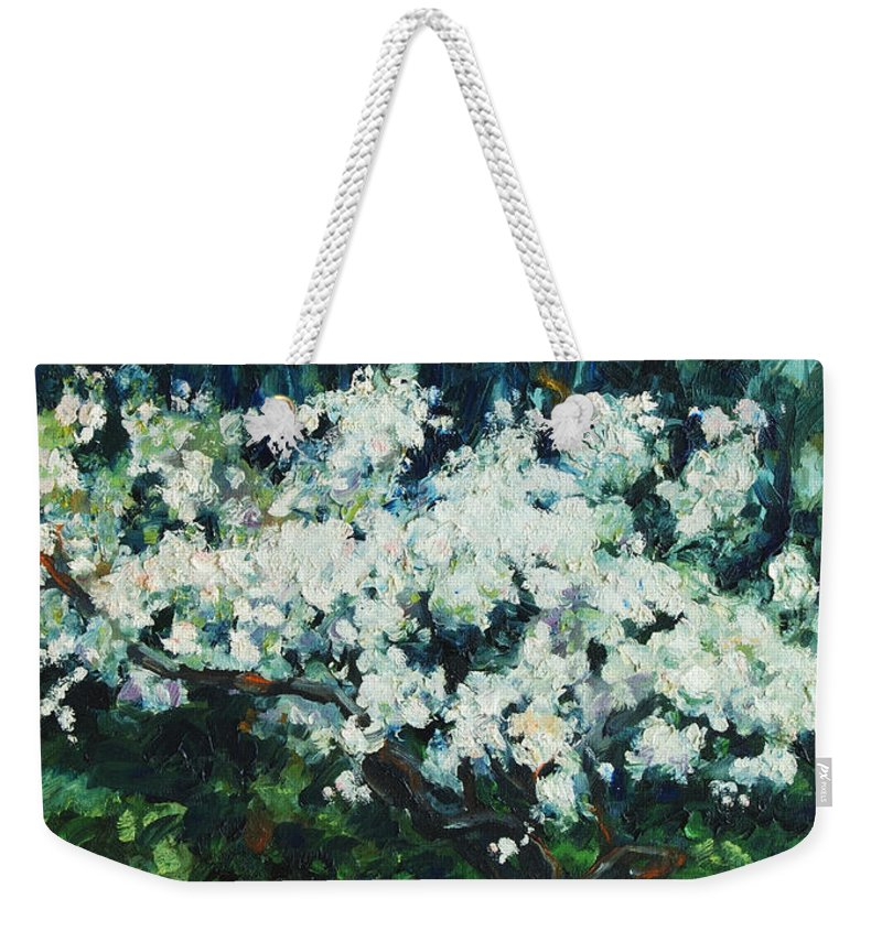 San Francisco Weekender Tote Bag featuring the painting Kwanzan I by Rick Nederlof