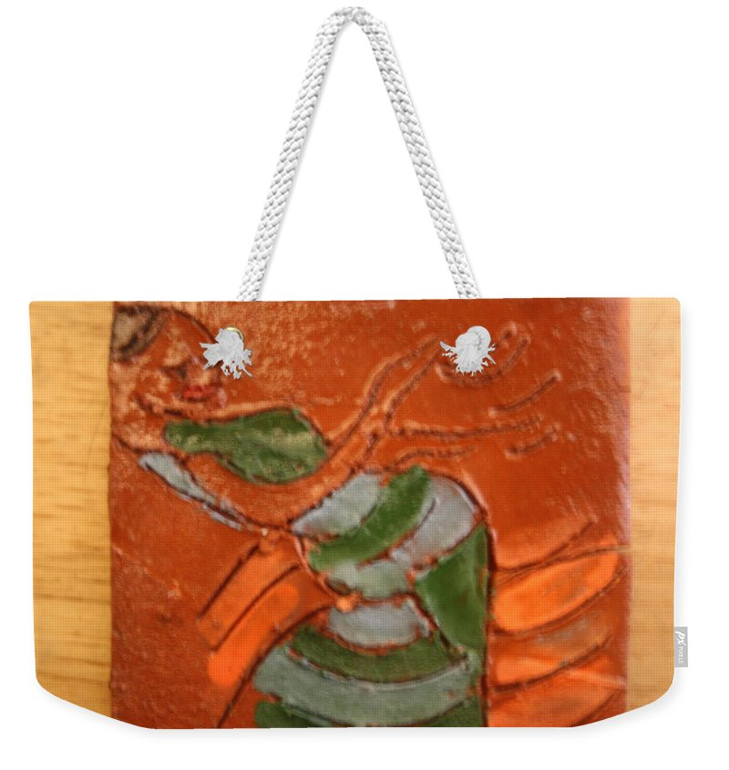 Jesus Weekender Tote Bag featuring the ceramic art Kwepena - Tile by Gloria Ssali