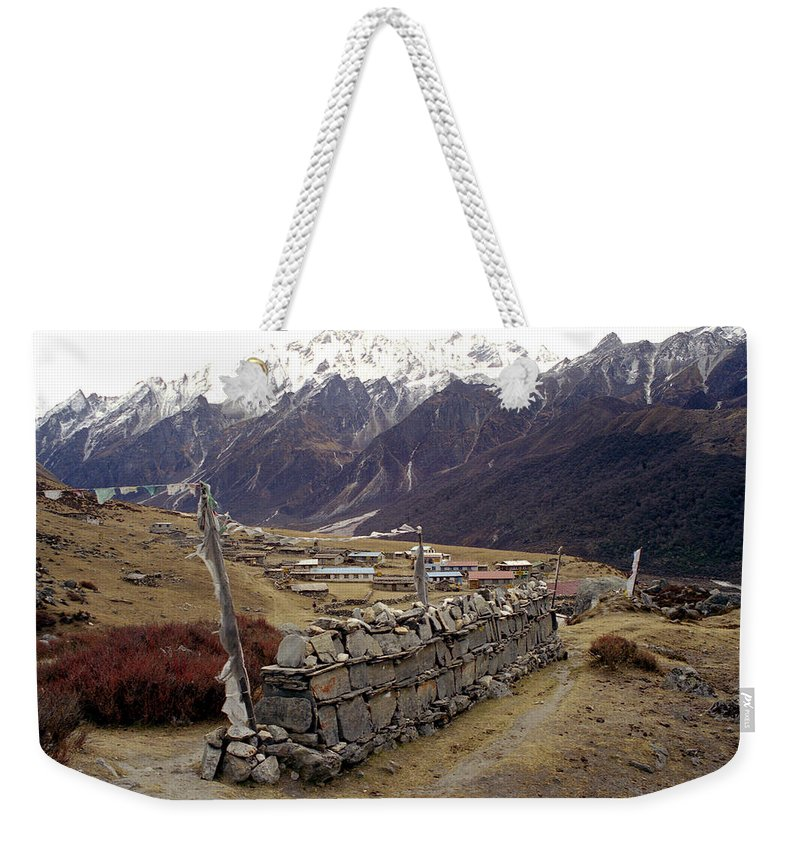Langtang Weekender Tote Bag featuring the photograph Kyanjin Gompa by Patrick Klauss