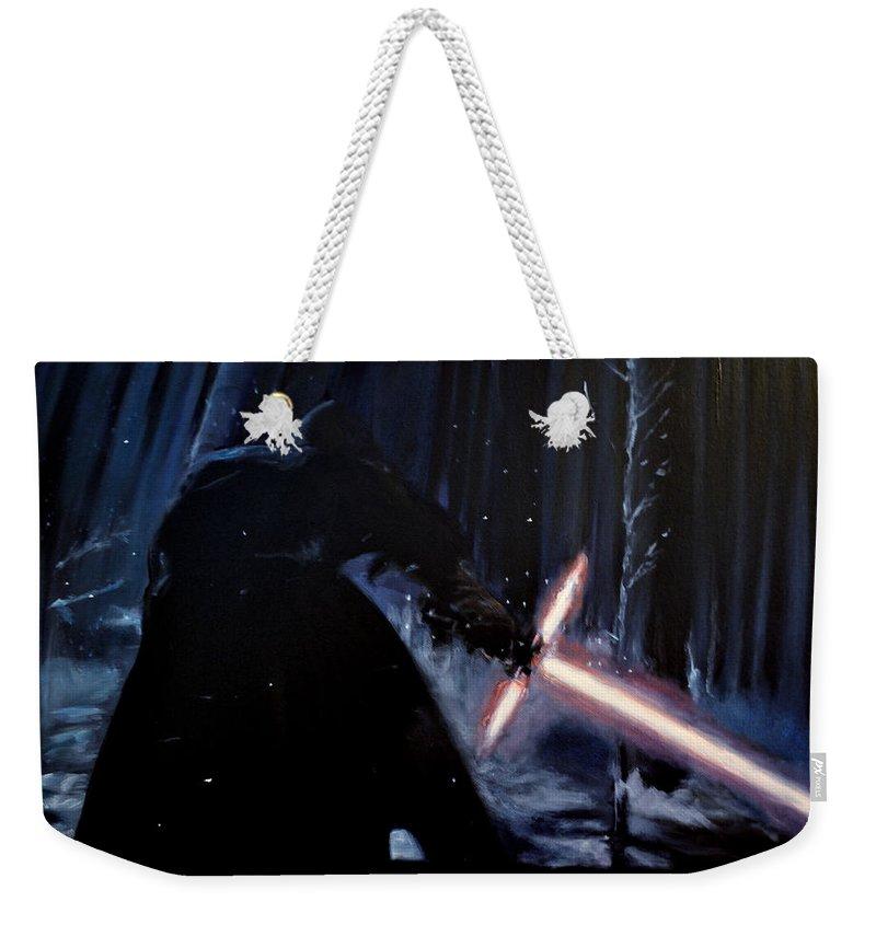 Kylo Ren Weekender Tote Bag featuring the painting Kylo-ren by Ruben Barbosa