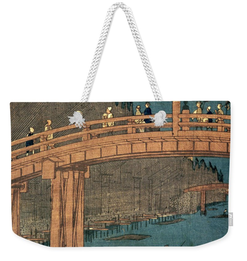 Kyoto Weekender Tote Bag featuring the painting Kyoto Bridge By Moonlight by Hiroshige