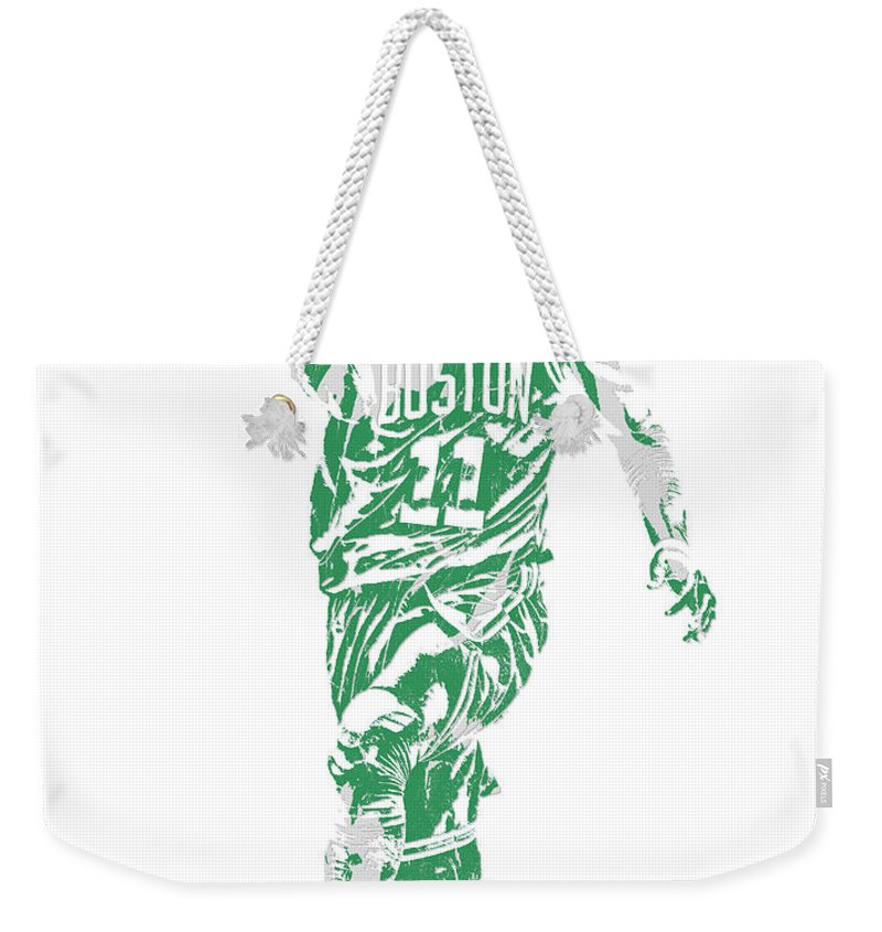 Kyrie Irving Weekender Tote Bag featuring the mixed media Kyrie Irving Boston Celtics Pixel Art 43 by Joe Hamilton