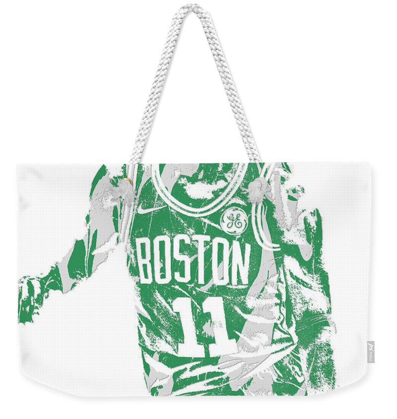Kyrie Irving Weekender Tote Bag featuring the mixed media Kyrie Irving Boston Celtics Pixel Art 6 by Joe Hamilton