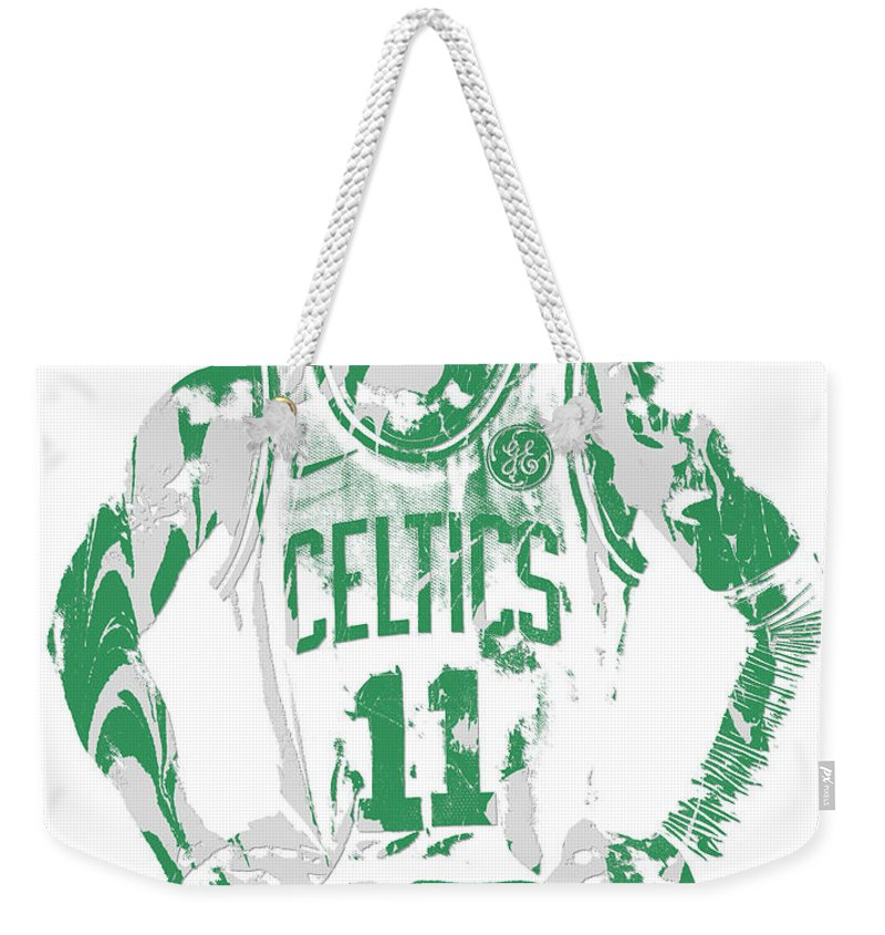 Kyrie Irving Weekender Tote Bag featuring the mixed media Kyrie Irving Boston Celtics Pixel Art 8 by Joe Hamilton