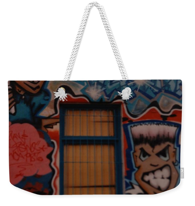 Urban Weekender Tote Bag featuring the photograph L A Urban Art by Rob Hans