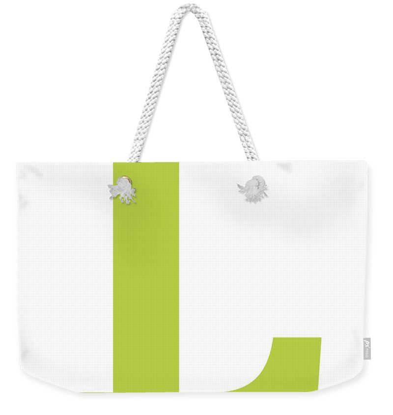 L Weekender Tote Bag featuring the digital art L In Spring Green Typewriter Style by Custom Home Fashions