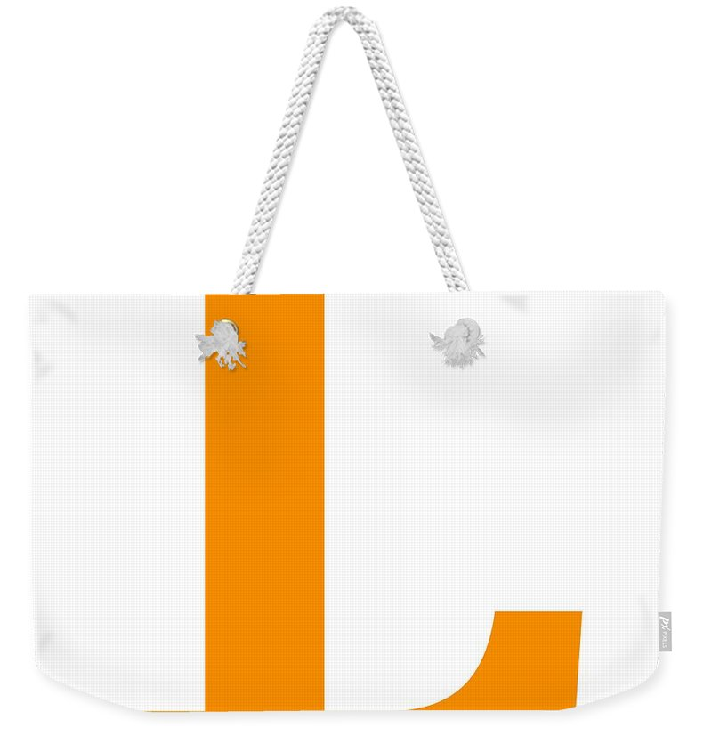 L Weekender Tote Bag featuring the digital art L In Tangerine Typewriter Style by Custom Home Fashions