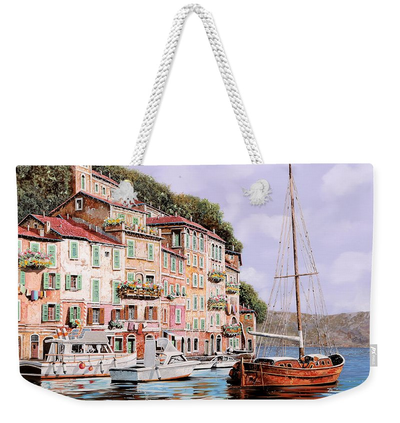 Landscape Weekender Tote Bag featuring the painting La Barca Rossa Alla Calata by Guido Borelli