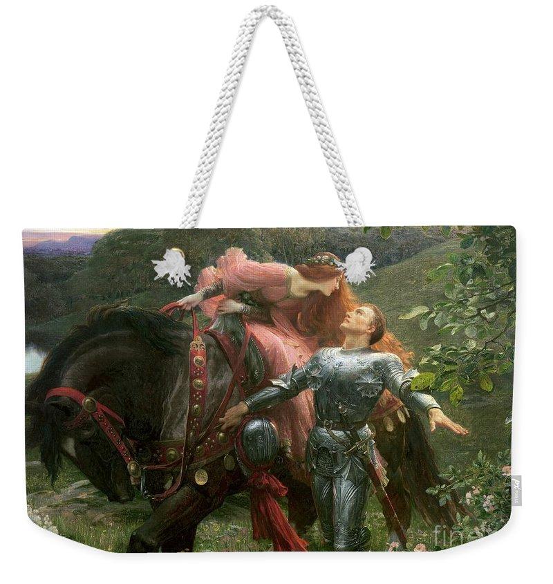 Belle Weekender Tote Bag featuring the painting La Belle Dame Sans Merci by Sir Frank Dicksee