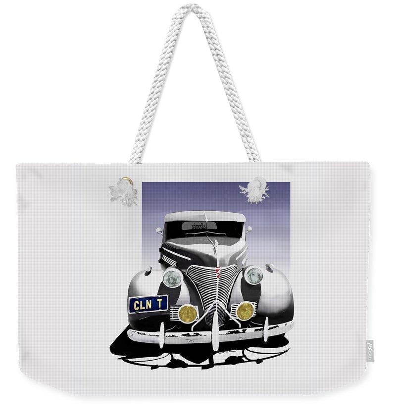 Chevrolet Weekender Tote Bag featuring the digital art La Bomba Lowrider by Motorvate Studio
