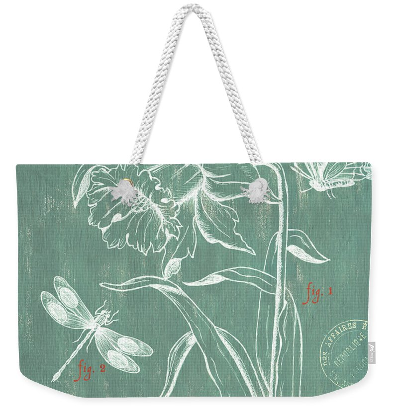 Floral Weekender Tote Bag featuring the painting La Botanique Aqua by Debbie DeWitt