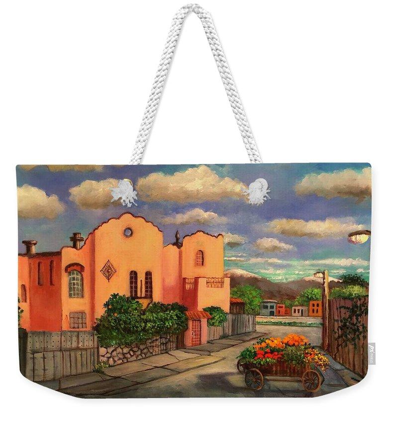Mexico Weekender Tote Bag featuring the painting La Casa De Mi Amiga Olga by Randy Burns