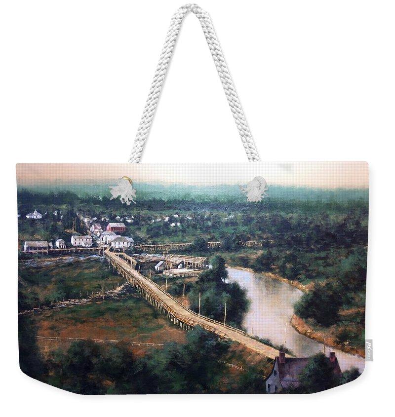 La Center Wa Weekender Tote Bag featuring the painting La Center WA Circa 1915 by Jim Gola