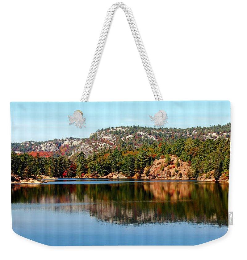 La Cloche Mountains Weekender Tote Bag featuring the photograph La Cloche Mountain Range by Debbie Oppermann