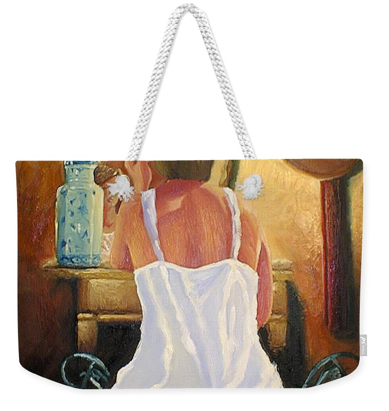 People Weekender Tote Bag featuring the painting La Coqueta by Arturo Vilmenay
