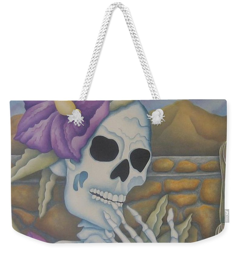 Calavera Weekender Tote Bag featuring the painting La Coqueta- The Coquette by Jeniffer Stapher-Thomas