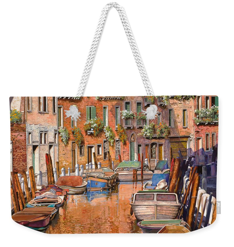Venice Weekender Tote Bag featuring the painting La Curva Sul Canale by Guido Borelli