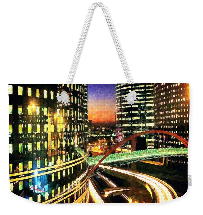 District Weekender Tote Bag featuring the painting La Defense By Night - Paris by Jeelan Clark