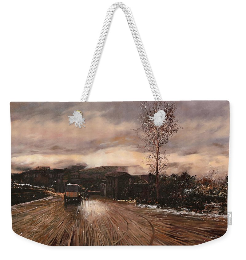 Snow Weekender Tote Bag featuring the painting La Diligenza by Guido Borelli