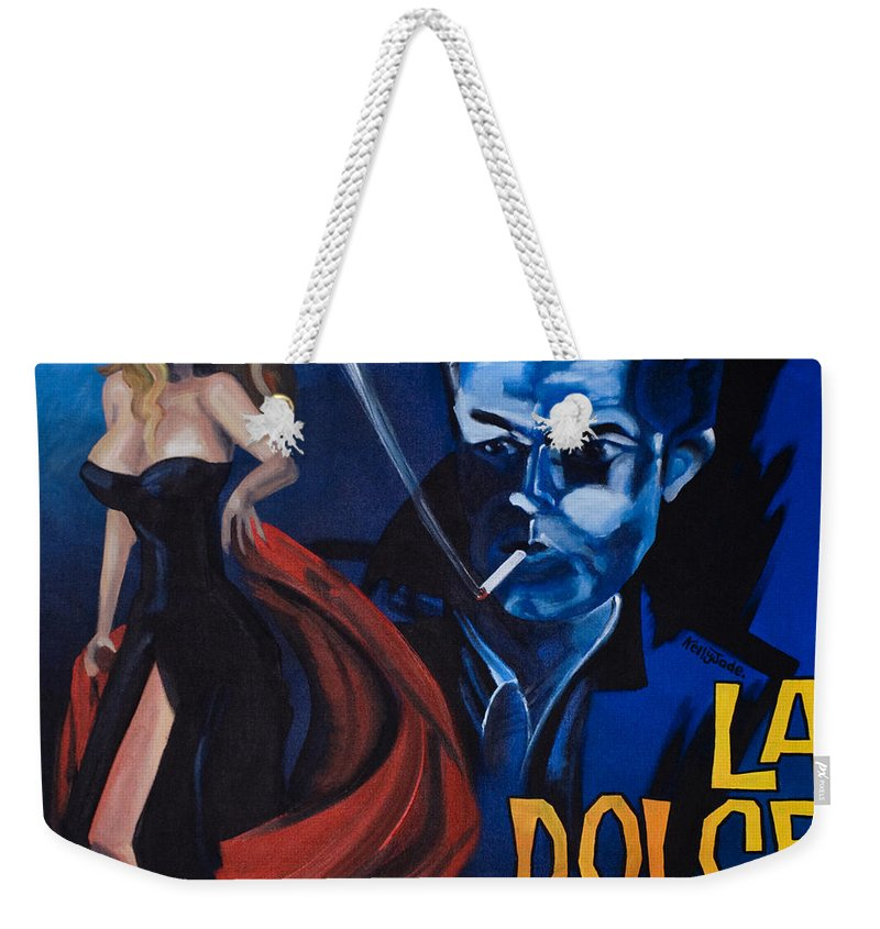 Movie Poster Weekender Tote Bag featuring the painting La Dolce Vita by Kelly Jade King