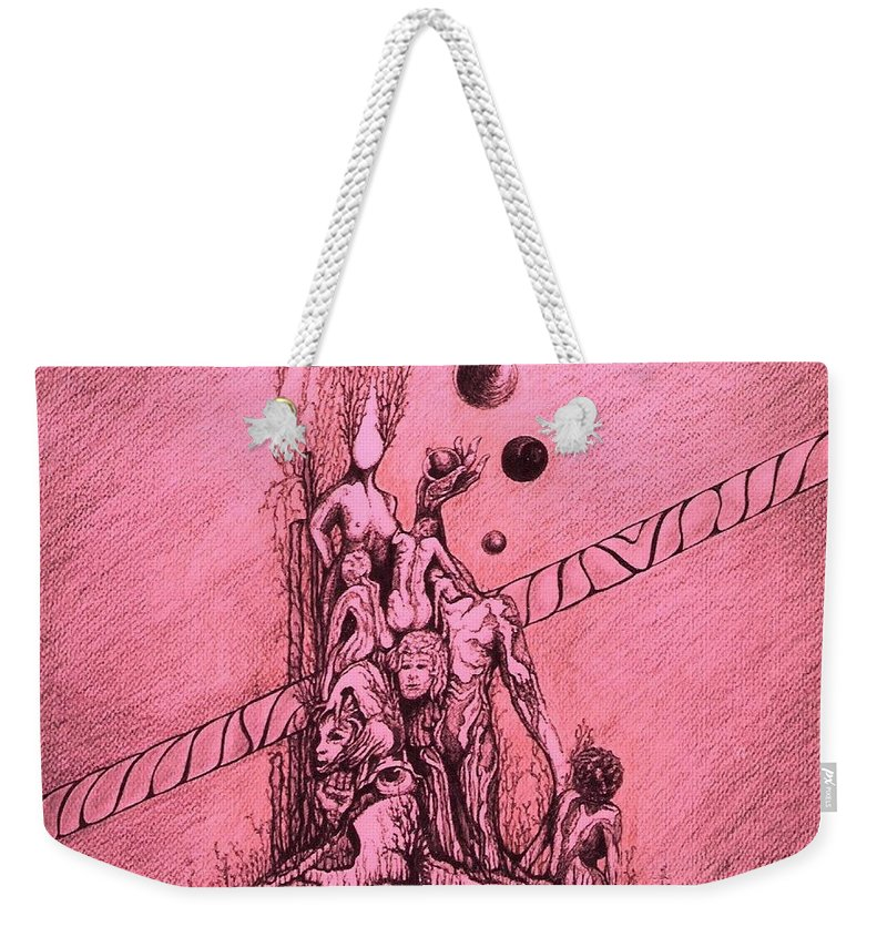 Surreal Artwork Weekender Tote Bag featuring the painting La Familia by Jordana Sands
