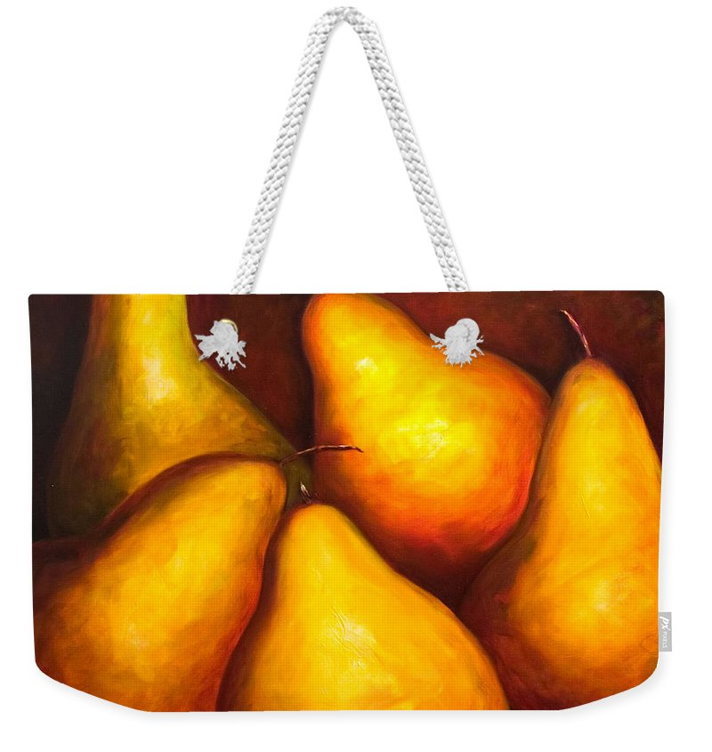 Still Life Yellow Weekender Tote Bag featuring the painting La Familia by Shannon Grissom