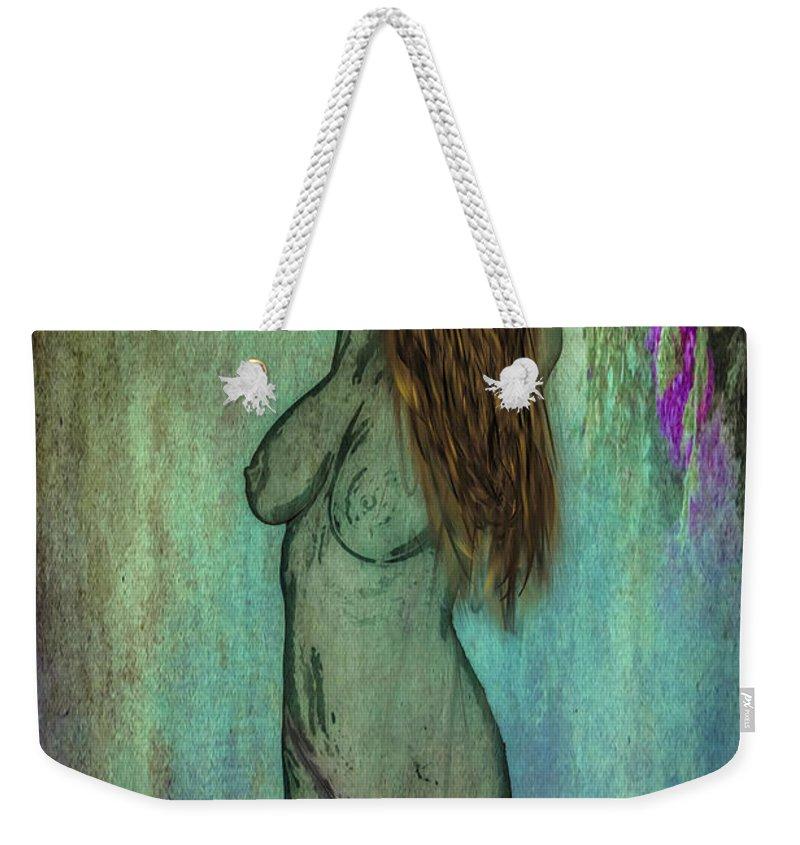 Nude Weekender Tote Bag featuring the digital art La Femme II by Jean Hall