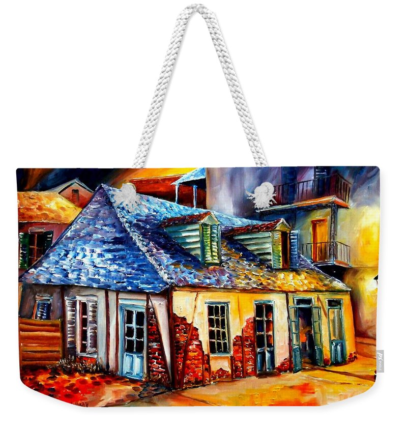 New Orleans Weekender Tote Bag featuring the painting La Fittes Blacksmith Shop by Diane Millsap