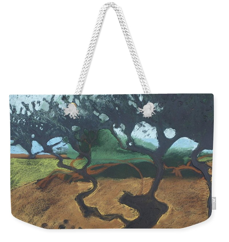 Contemporary Tree Landscape Weekender Tote Bag featuring the drawing La Jolla I by Leah Tomaino