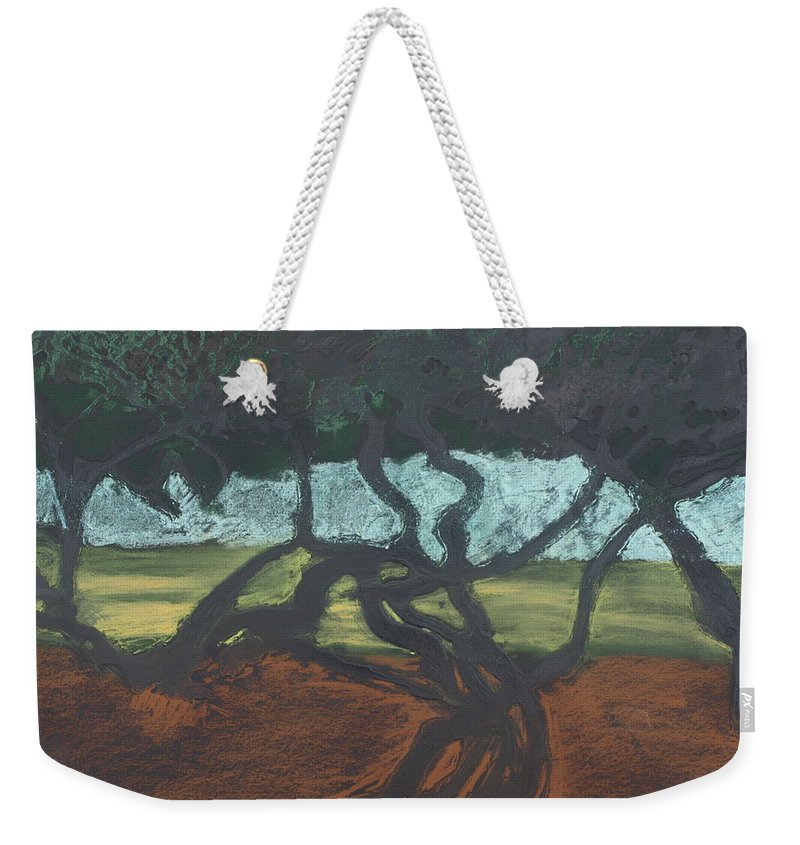 Contemporary Tree Landscape Weekender Tote Bag featuring the mixed media La Jolla II by Leah Tomaino