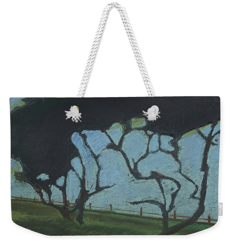 Contemporary Tree Landscape Weekender Tote Bag featuring the mixed media La Jolla IIi by Leah Tomaino