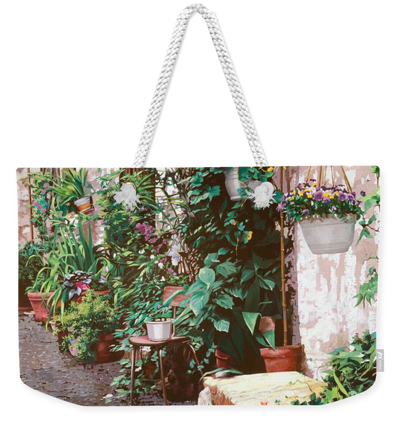 Street Scens Weekender Tote Bag featuring the painting La Panca Di Pietra by Guido Borelli
