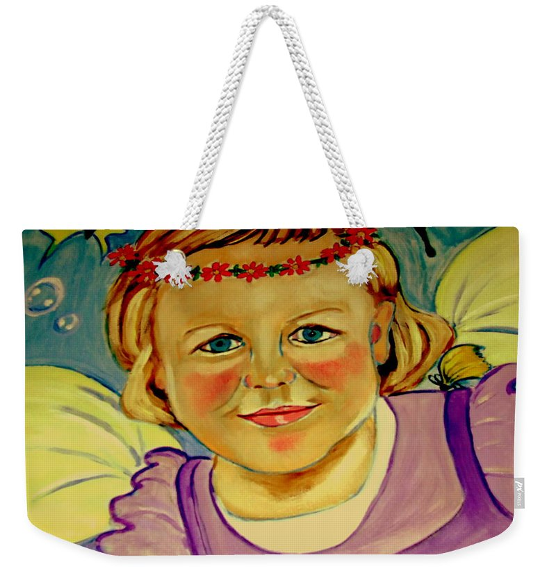France Weekender Tote Bag featuring the painting La Petite Fee  The Little Fairy by Rusty Gladdish