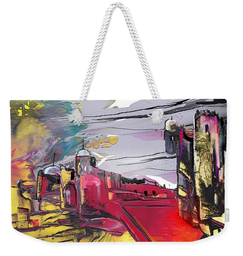 Landscape Weekender Tote Bag featuring the painting La Place Rouge Espagnole by Miki De Goodaboom