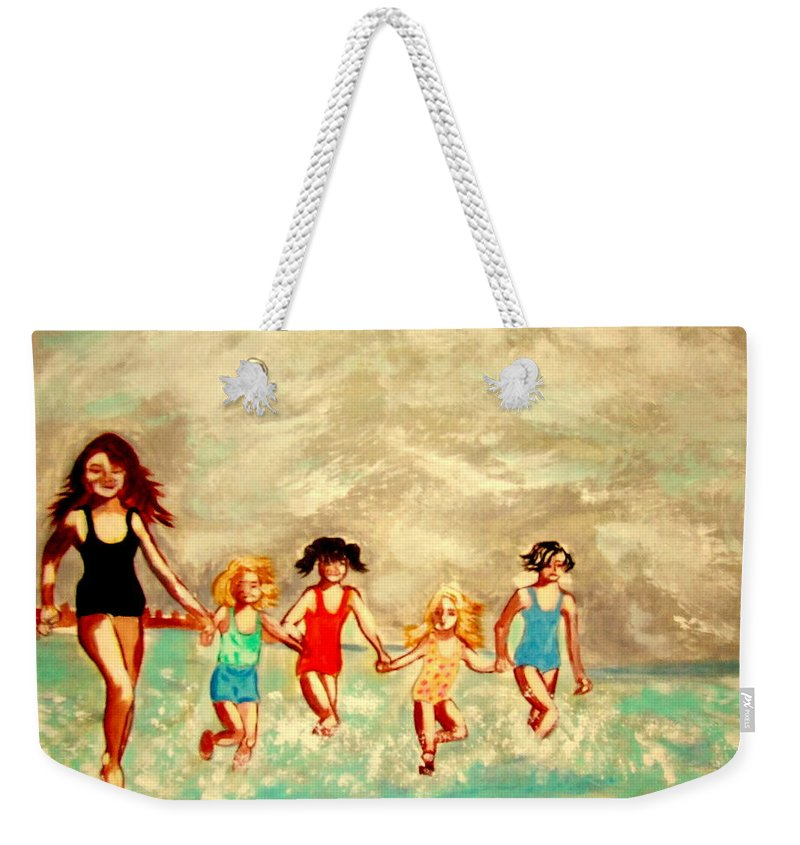 France Weekender Tote Bag featuring the painting La Plage by Rusty Gladdish