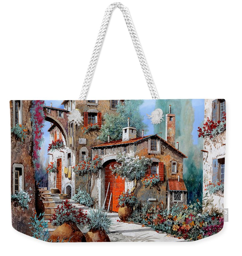 Red Door Weekender Tote Bag featuring the painting La Porta Rossa by Guido Borelli