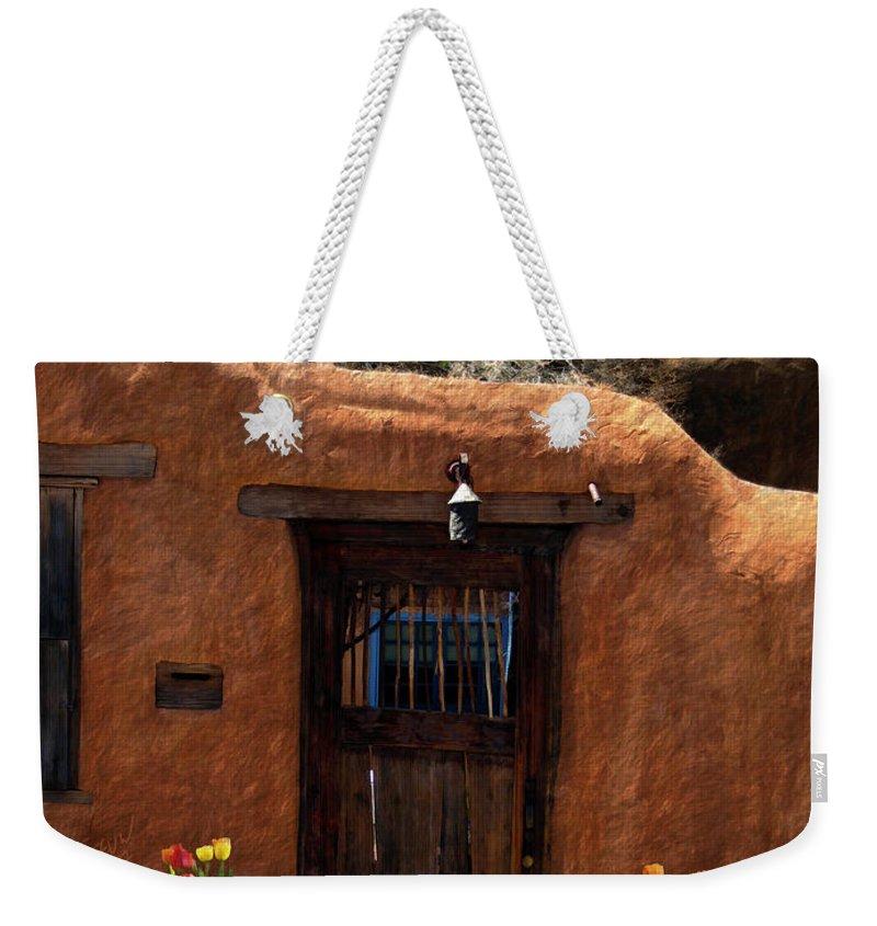 Door Weekender Tote Bag featuring the photograph La Puerta Marron Vieja - The Old Brown Door by Kurt Van Wagner