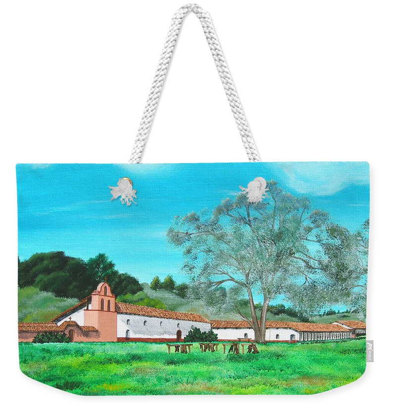 La Purisima Weekender Tote Bag featuring the painting La Purisima Mission by Angie Hamlin