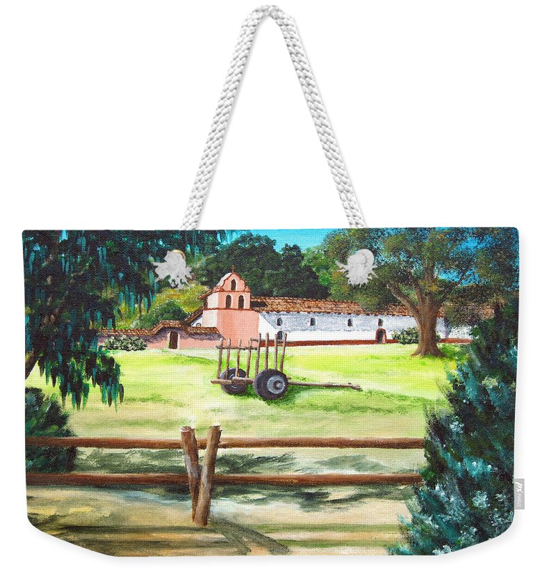 La Purisima Weekender Tote Bag featuring the painting La Purisima With Fence by Angie Hamlin