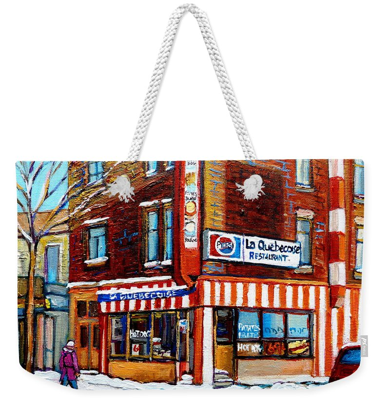 La Quebecoise Restaurant Weekender Tote Bag featuring the painting La Quebecoise Restaurant Montreal by Carole Spandau