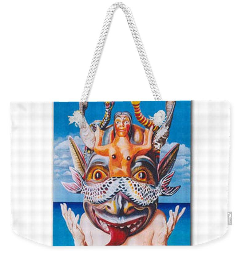 Hyperrealism Weekender Tote Bag featuring the painting La Sirena by Michael Earney
