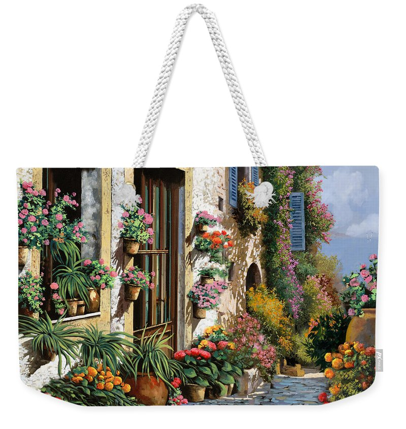 Seascape Weekender Tote Bag featuring the painting La Strada Del Lago by Guido Borelli