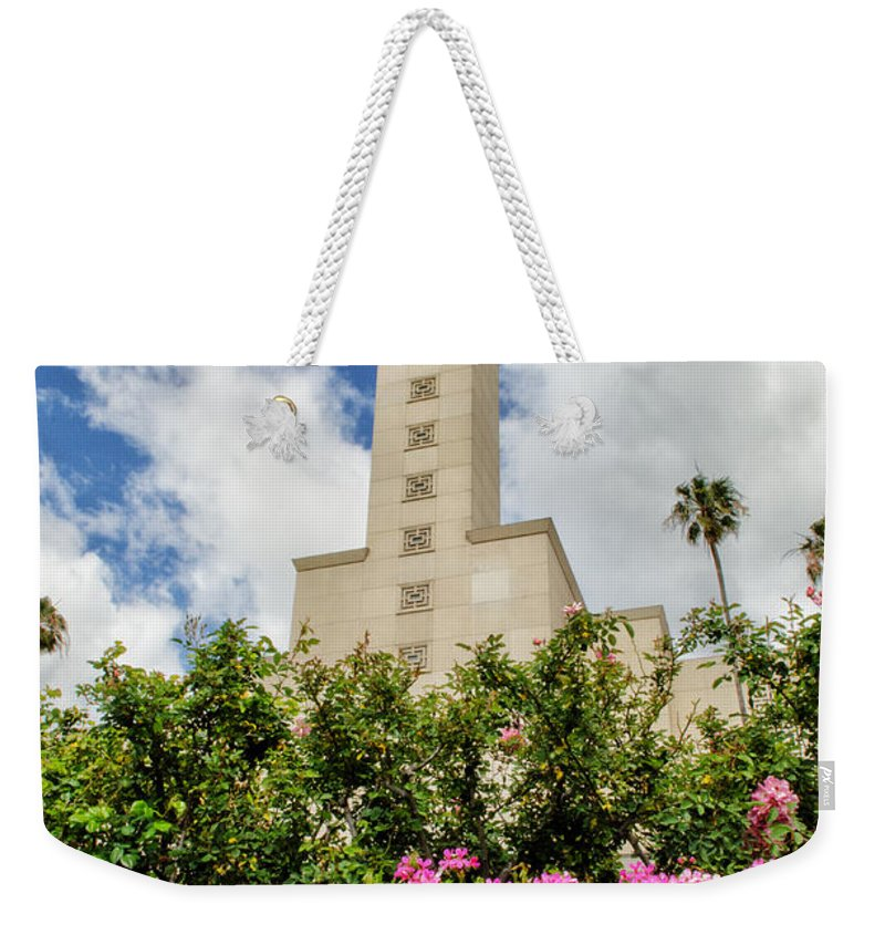 Lds Temple Photography Weekender Tote Bag featuring the photograph La Temple Pink by La Rae Roberts