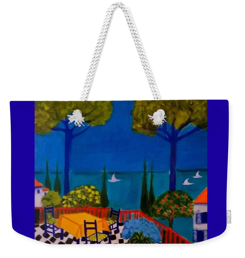 Provence Weekender Tote Bag featuring the painting La Terasse en St Tropez by Rusty Gladdish