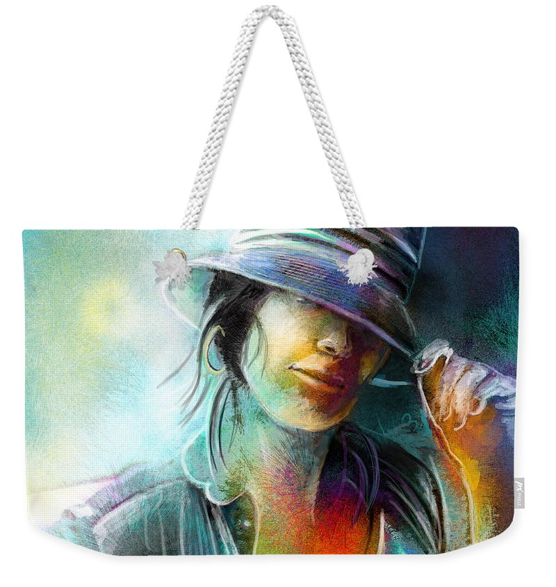Portrait Weekender Tote Bag featuring the painting La Tombeuse by Miki De Goodaboom