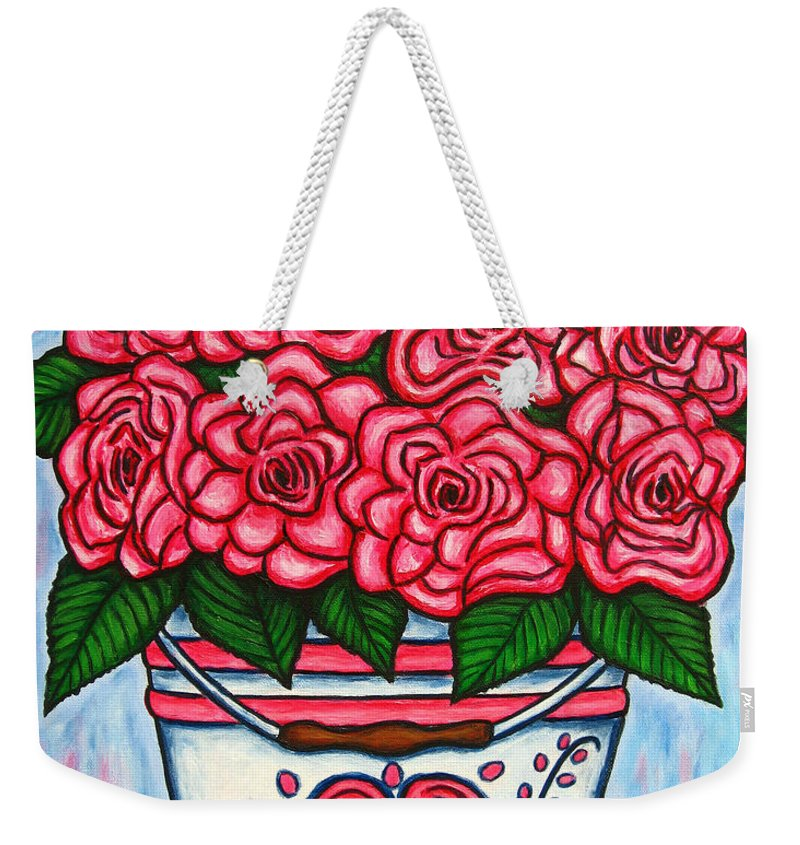 Rose Weekender Tote Bag featuring the painting La Vie En Rose by Lisa Lorenz