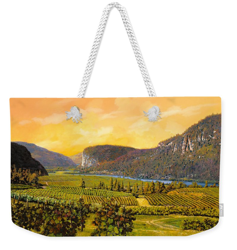 Wine Weekender Tote Bag featuring the painting La Vigna Sul Fiume by Guido Borelli