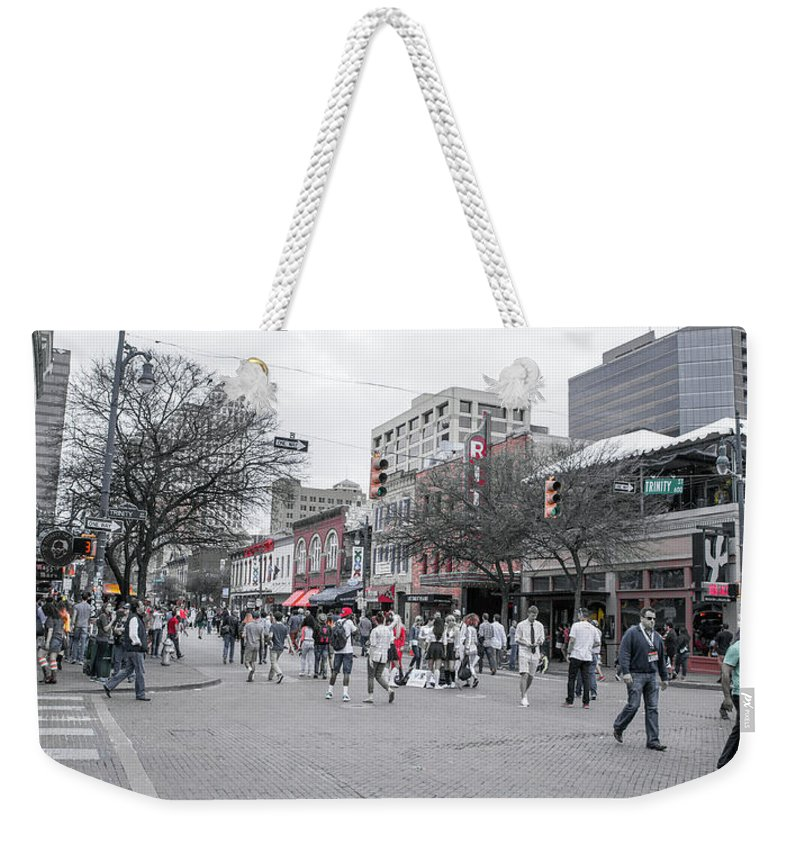 Restaurant Weekender Tote Bag featuring the photograph La Woman In Austin For Jim by Betsy Knapp