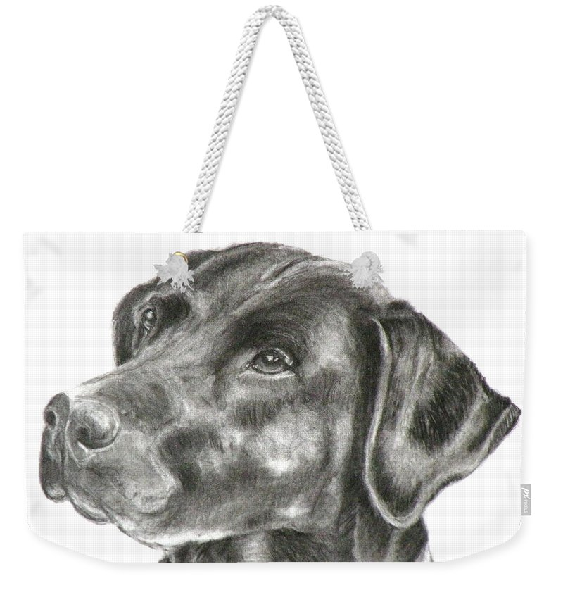 Black Lab Weekender Tote Bag featuring the painting Lab Charcoal Drawing by Susan A Becker